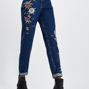 Topshop Embroidered Mom Jeans